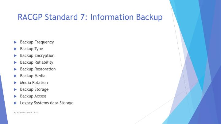 RACGP Standard 7: Information Backup