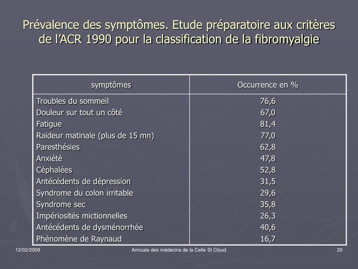 Prévalence des symptômes. Etude préparatoire aux critères de l'ACR 1990 pour la classification de la fibromyalgie