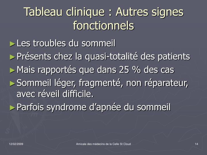 Tableau clinique : Autres signes fonctionnels