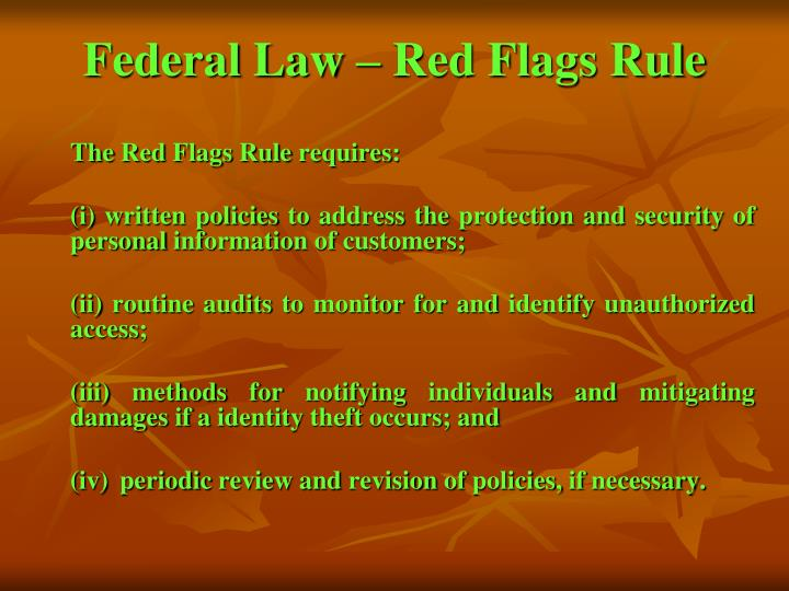 Federal Law – Red Flags Rule