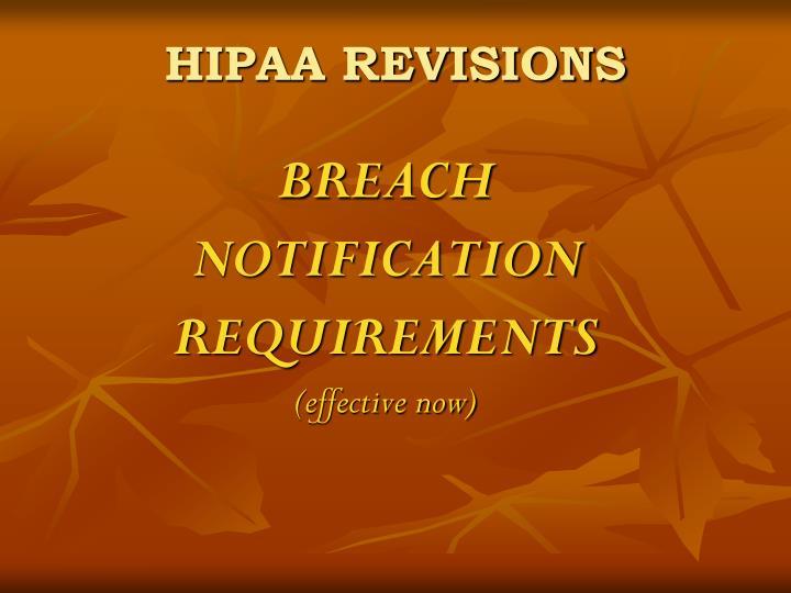 HIPAA REVISIONS