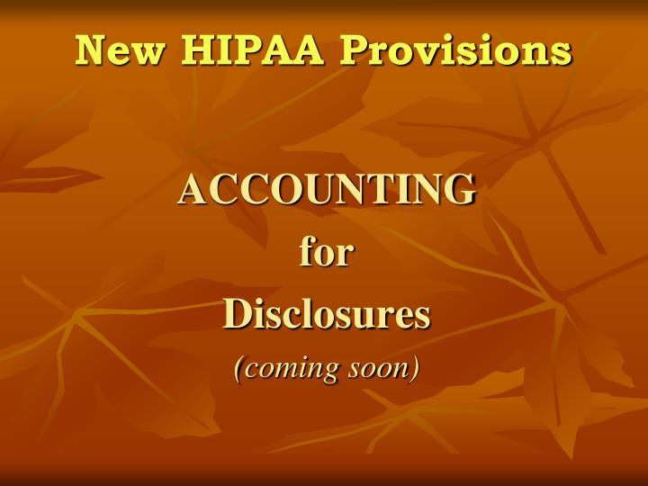 New HIPAA Provisions