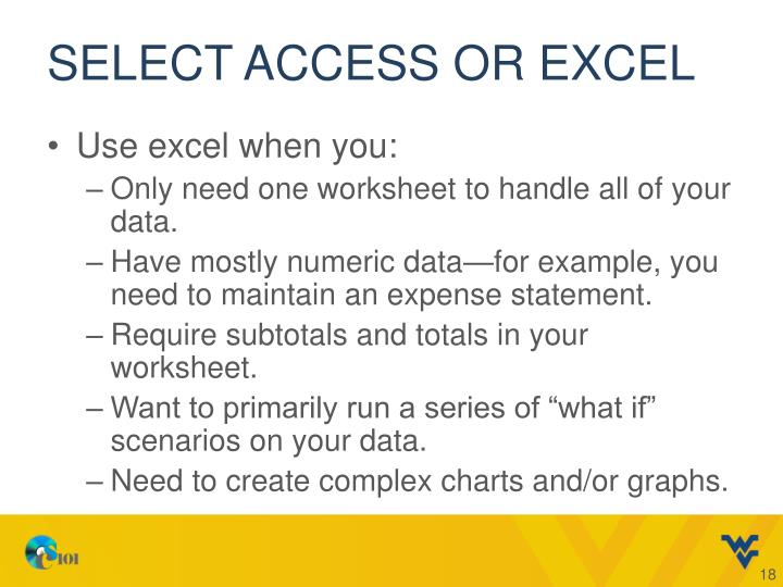 Select access or excel