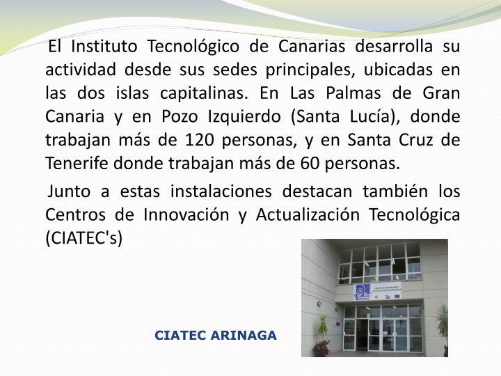 El Instituto Tecnológico de Canarias desarrolla su actividad desde sus sedes principales, ubicadas en las dos islas capitalinas. En Las Palmas de Gran Canaria y en Pozo Izquierdo (Santa Lucía), donde trabajan más de 120 personas, y en Santa Cruz de Tenerife donde trabajan más de 60 personas.