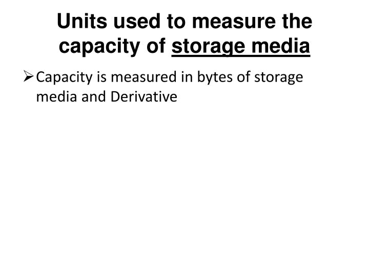Units used to measure the capacity of
