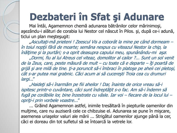 Dezbateri în Sfat şi Adunare