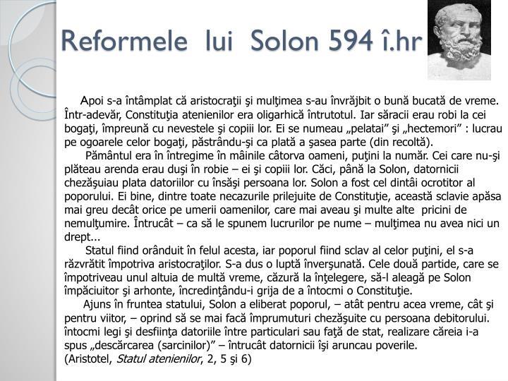 Reformele  lui  Solon 594 î.hr