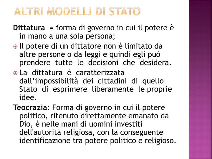 altri modelli di stato
