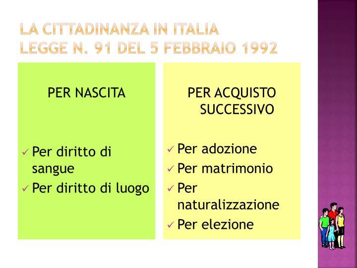 LA CITTADINANZA IN ITALIA