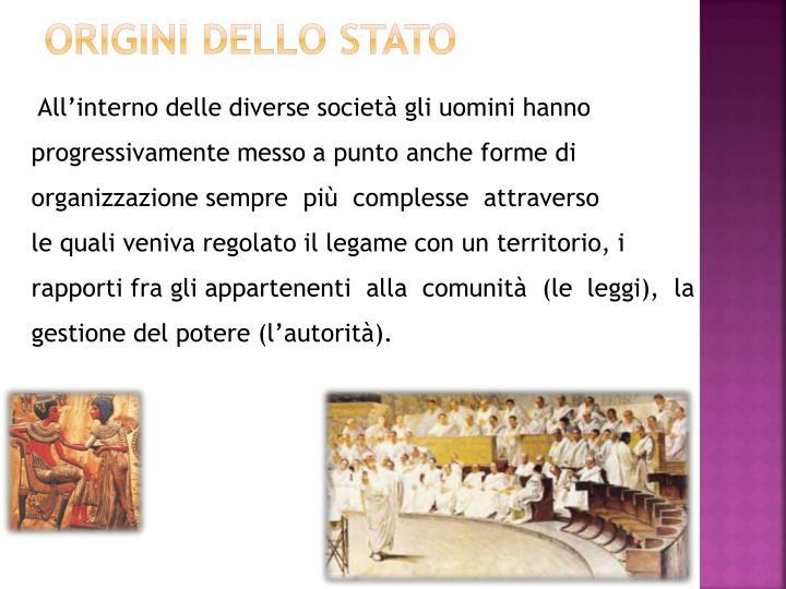 Origini dello stato1
