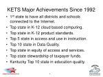 kets major achievements since 1992