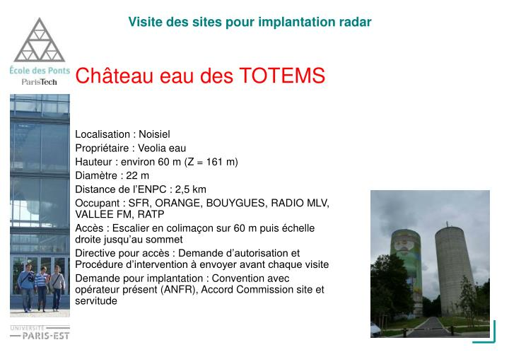 Visite des sites pour implantation radar
