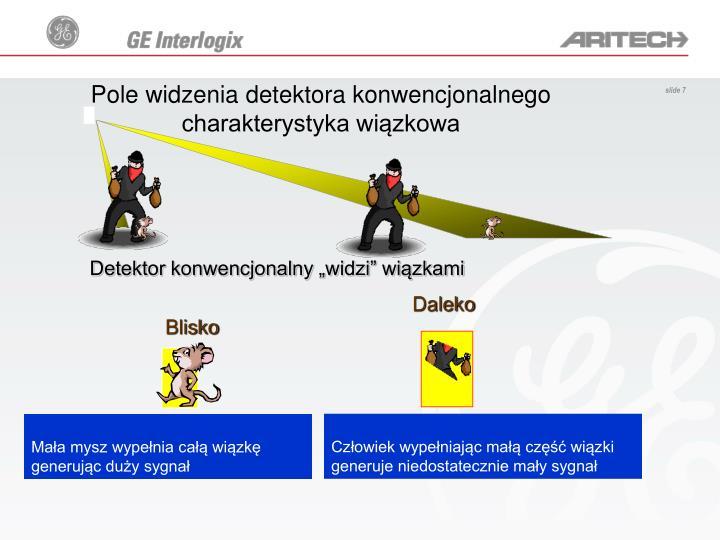 Pole widzenia detektora konwencjonalnego charakterystyka wiązkowa