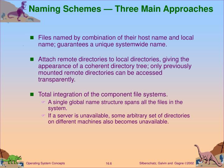 Naming Schemes — Three Main Approaches