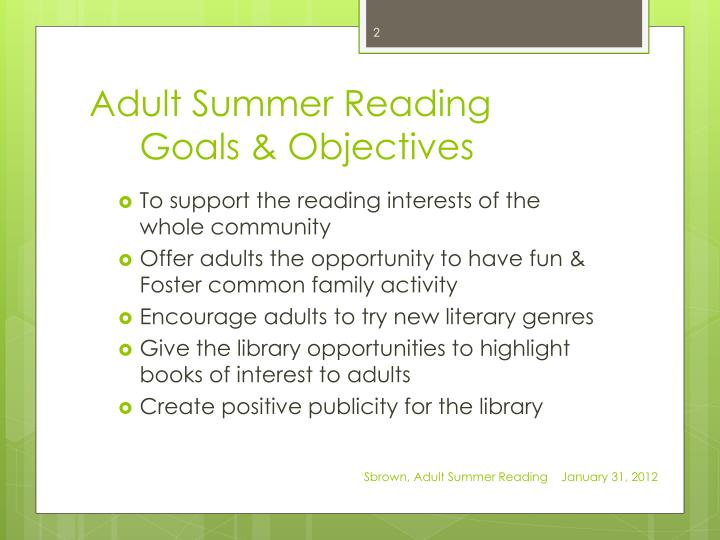 Adult summer reading goals objectives
