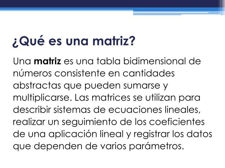 Qu es una matriz