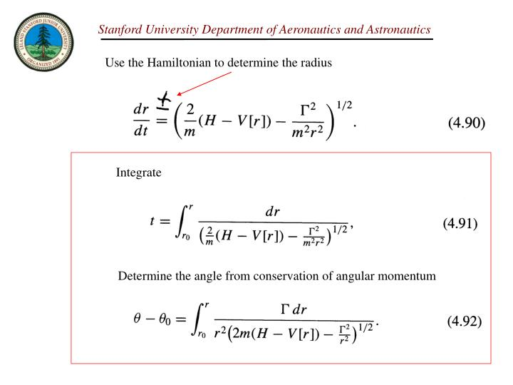 Use the Hamiltonian to determine the radius