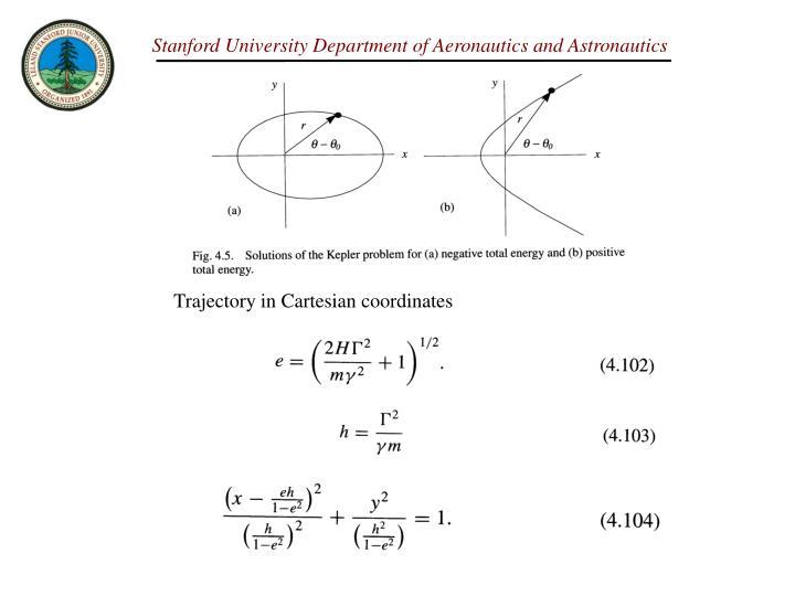 Trajectory in Cartesian coordinates