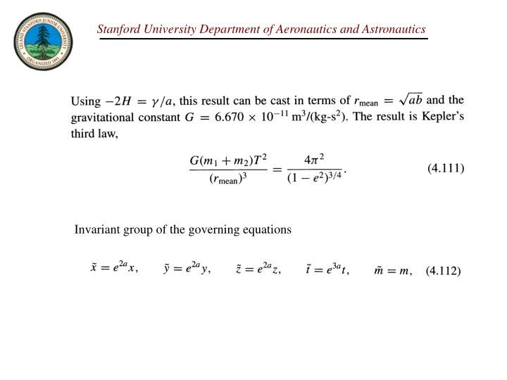 Invariant group of the governing equations