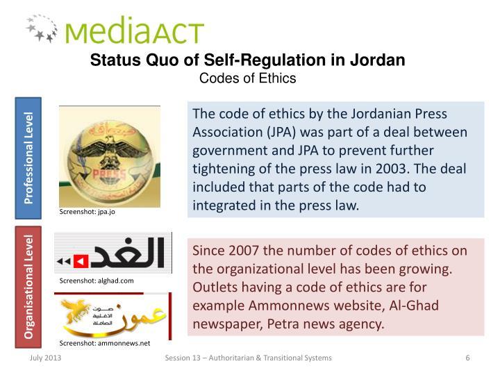Status Quo of Self-Regulation in Jordan