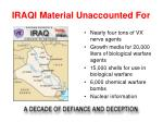 iraqi material unaccounted for