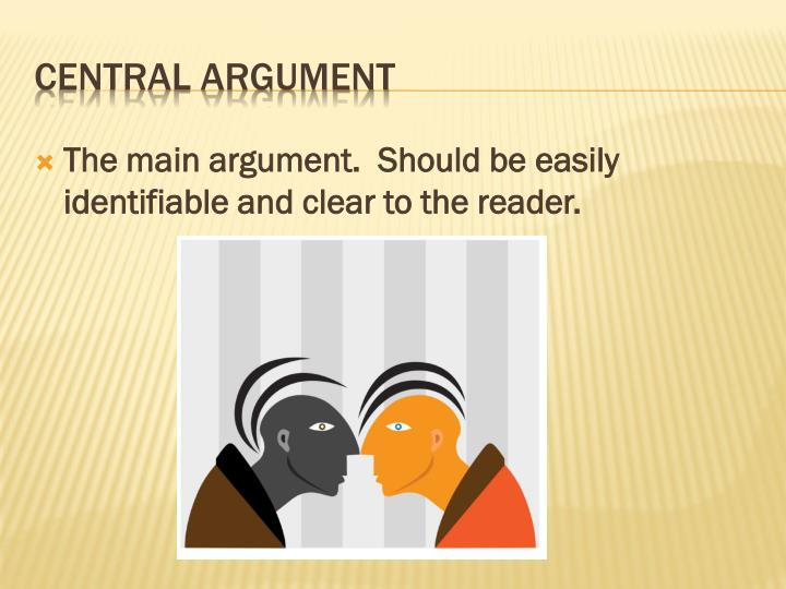The main argument.  Should be easily identifiable and clear to the reader.