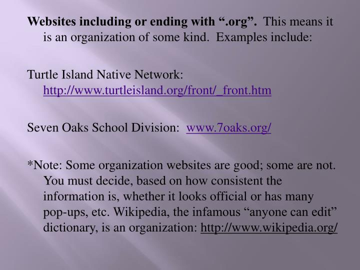 """Websites including or ending with """".org""""."""