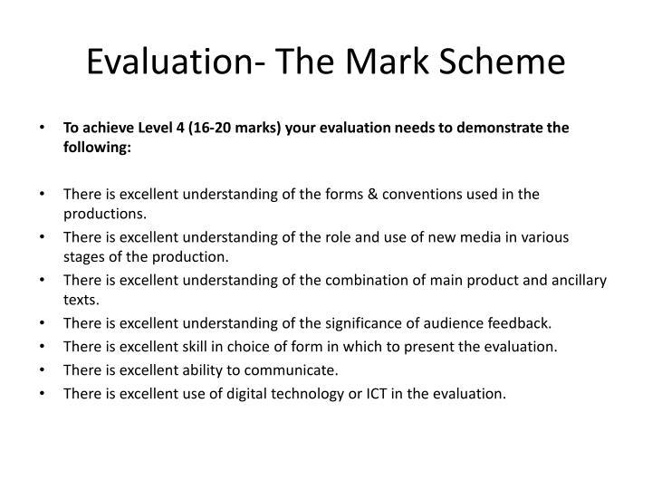 Evaluation- The Mark Scheme