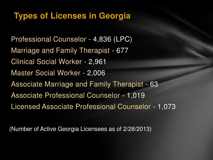 (Number of Active Georgia Licensees as of 2/28/2013)