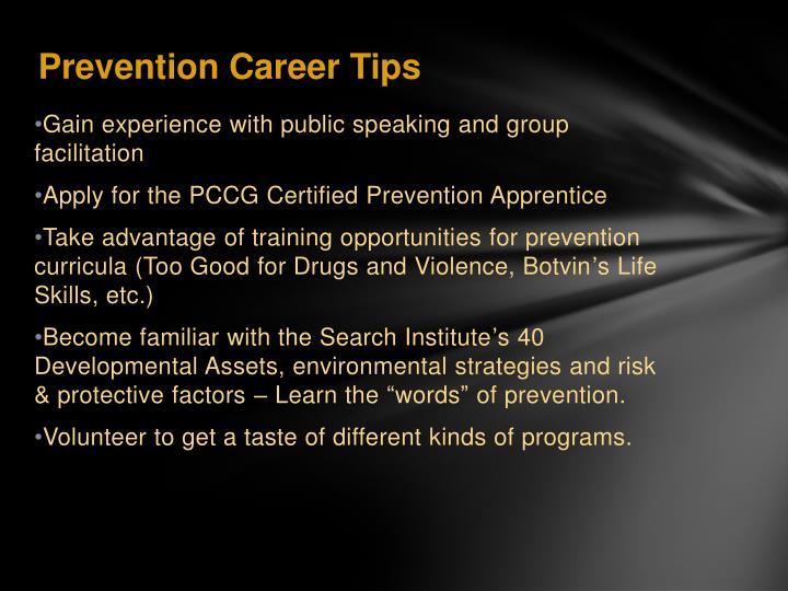 Prevention Career Tips