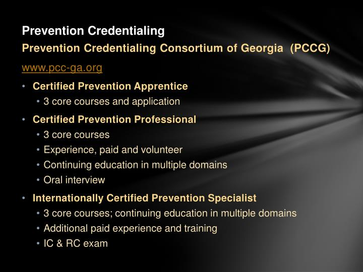 Prevention Credentialing