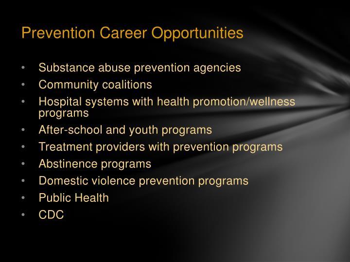 Prevention Career Opportunities