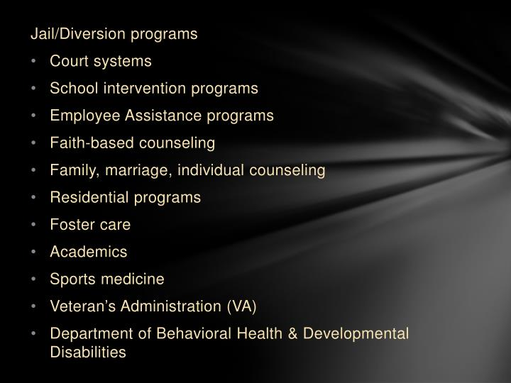 Jail/Diversion programs