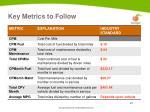key metrics to follow