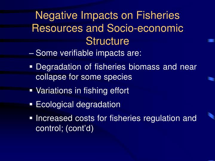 Negative impacts on fisheries resources and socio economic structure