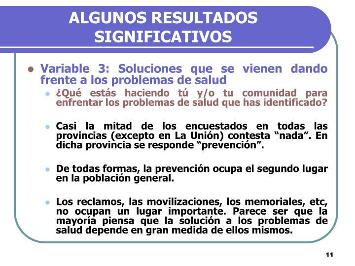 ALGUNOS RESULTADOS SIGNIFICATIVOS