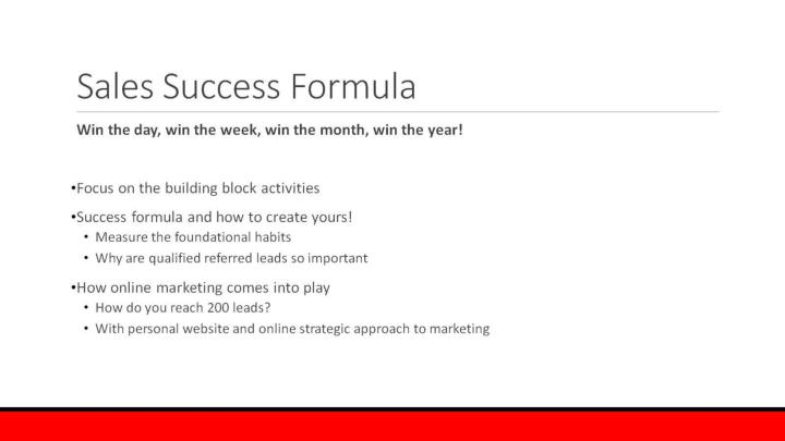 Sales Success Formula