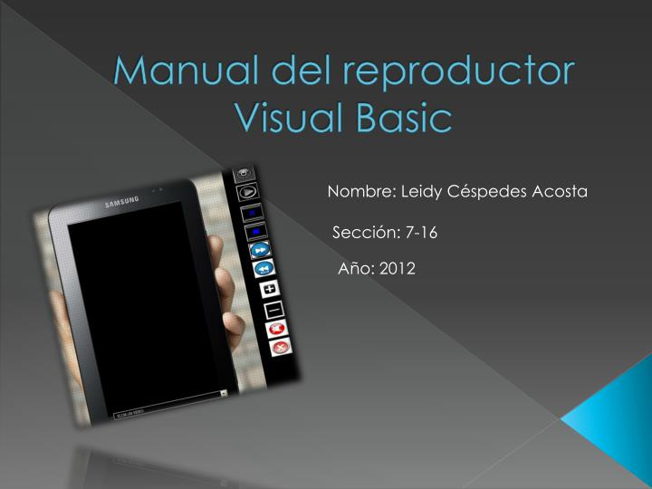 Manual del reproductor visual basic