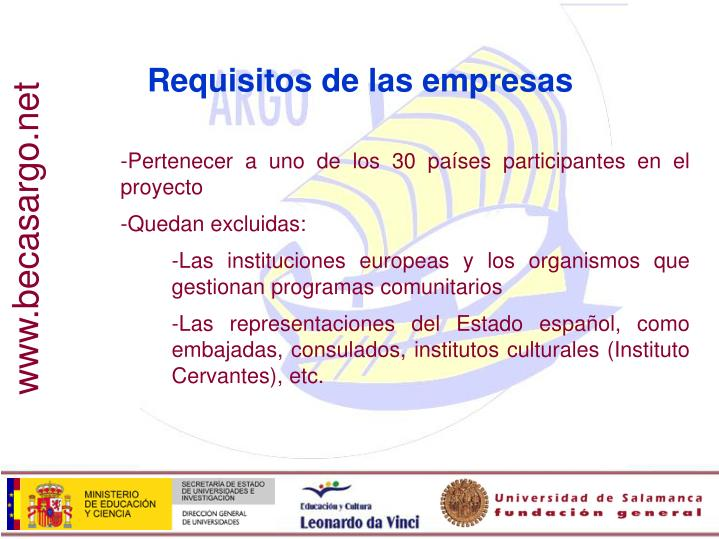 Requisitos de las empresas