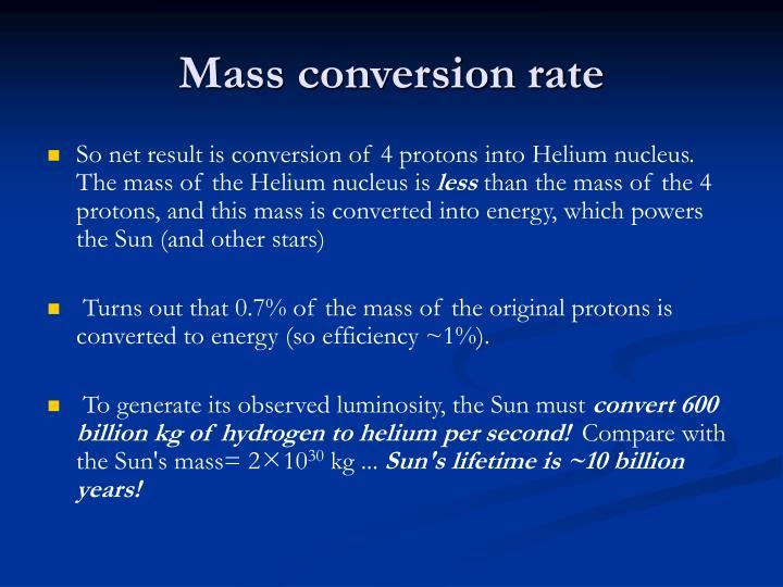 Mass conversion rate