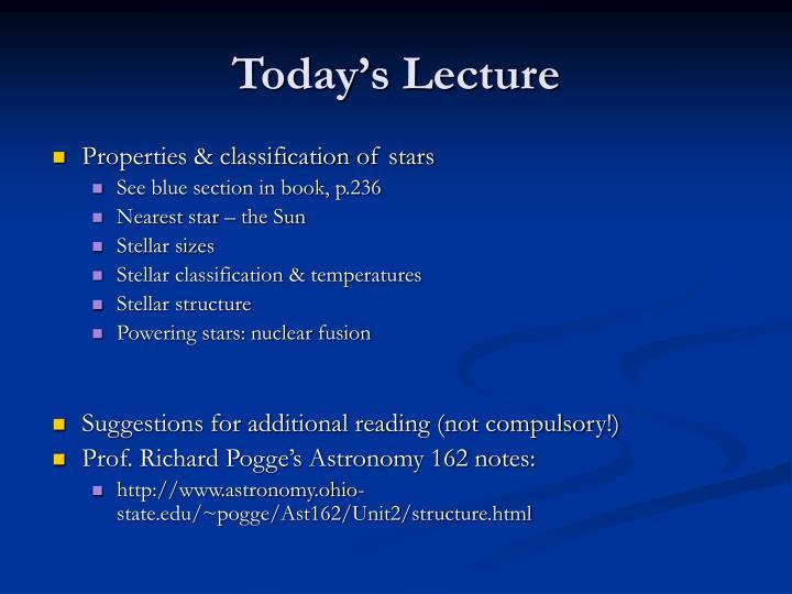 Properties & classification of stars