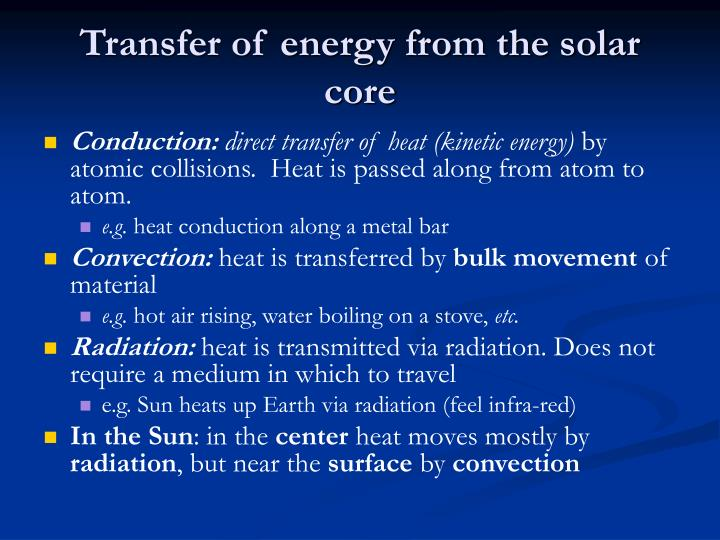 Transfer of energy from the solar core