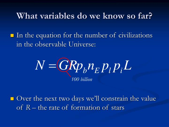 What variables do we know so far