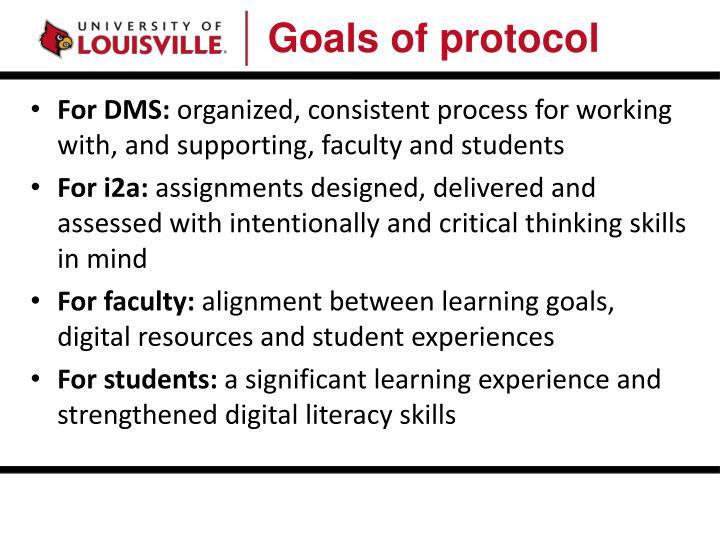 Goals of protocol
