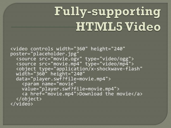 Fully-supporting HTML5