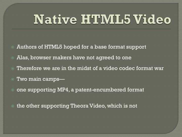 Native HTML5