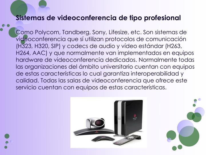 Sistemas de videoconferencia de tipo profesional