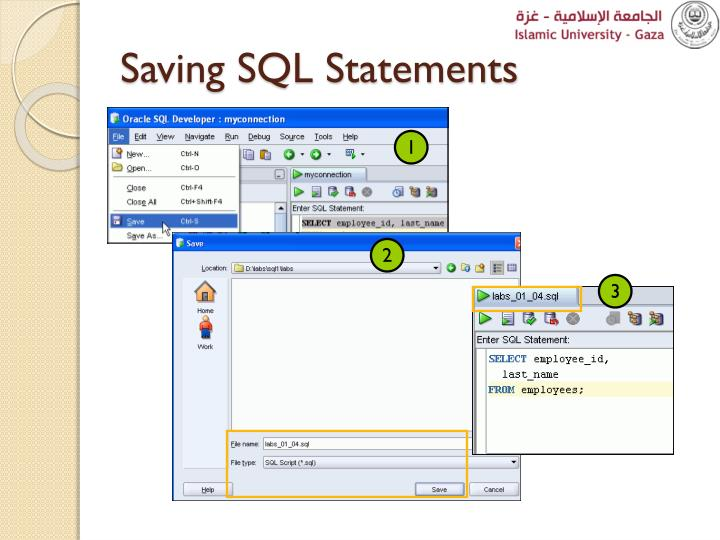 Saving SQL Statements