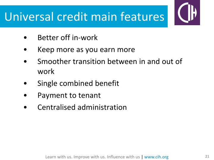 Universal credit main features
