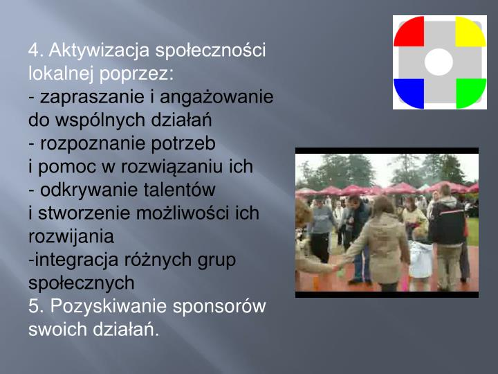 4. Aktywizacja społeczności lokalnej poprzez: